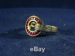 Absolument Magnifique Guy Laroche Ruby Diamond Ring, Français Aigle Hallmark, Taille O
