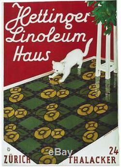 Affiche Vintage Originale Hettinger Linoleum Cat Jeu C. 1928
