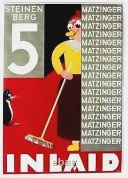 Affiche Vintage Originale Matzinger Incrusté Easy Clean Cat C. 1925
