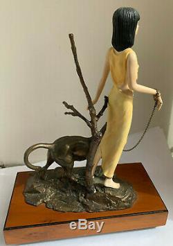 Albany Chine Figure Khartoum Art Déco Semi Nu Style De Bronze Panther Cat 83/350