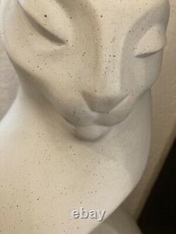 Alexander Danel Limestone Magic Cat Sculpture Austin Productions 23,5 Art Déco