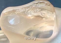 Amazing Lalique Grand Zeila Panther Cat Sculpture D'or Lustre En Cristal