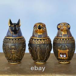 Ancien Dépôt De Jarre D'egypte Anubis Cat Dieu Canopic Figurines Résine Ornament Decor