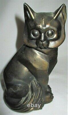 Ancienne 1929 C. M. W. Art Deco Cubist Signé Cat Book Statue Sculpture Bookends