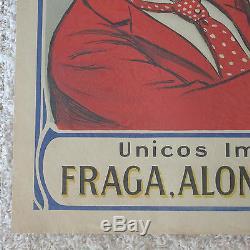 Ancienne Affiche De Lithographie De Chat De Quevedo Antique De Cognac