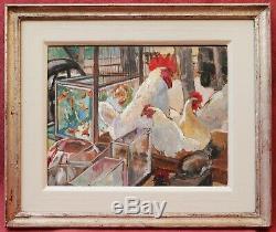 Anne Escassut Française Peinture À L'huile Coq Art Animal Poules Cat Aquarium De Paris
