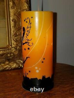 Années 1920 Art Déco Devilbiss Glass Lamp Shade Nude Fairies Cat Stars Moon Silhouette