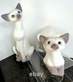 Anthony Freeman Mcfarlin Pottery Vtg 1958 Ensemble De 2 Figurines De Chat Siamoises