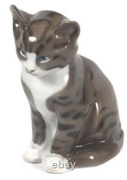 Antique 1919s Allemagne Rosenthal Porcelaine Sitting Cat Figurine Art Déco De Wzucel
