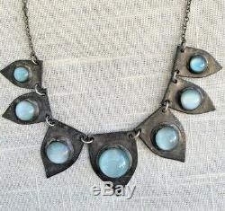 Antique Art Déco Artisan Bleu D'argent Glass Eye Cat Moonstone Collier