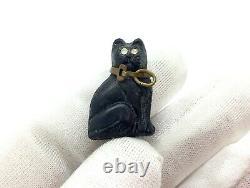 Antique Art Déco Bohemian Crackerjack Lucky Black Pressed Glass Cat Charm