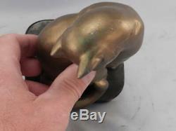 Antique Art Déco C1930 Chat Bookendsbronzed Sculpture En Métal Sur La Base Ardoise Noire
