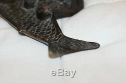Antique Art Déco Français Bronze Chat Avec Support Poisson Plumier Trinket Vaisselle Figure
