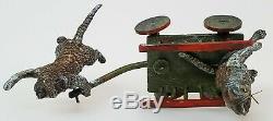 Antique Autriche C1900 Geshutz Vienna Bronze Figure Miniature Du Chariot De Tirage Des Chats