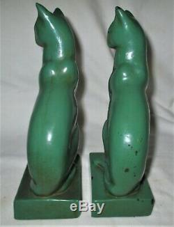 Antique Bronze Galvano Clad Art Déco Frankart Era Peinture Bookends Sculpture Cat