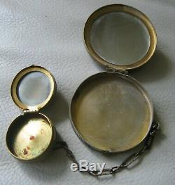 Antique Gold T Filigrane Ambre Jewel Verre Cat Rouge Eye Poudre Tango Compact