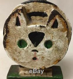 Antique Ou Vtg Art Deco Wedge Cat Hubley Butée De Porte Butée De Porte En Fonte Peinte