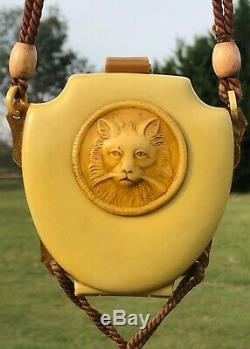Antique Pochette Vanity Case Art Déco Cat Danse Bourse De Sac À Main Necessaire Compact