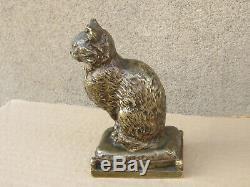Antique Rare Art Déco Bronze 1920 Statue / Figure Cat