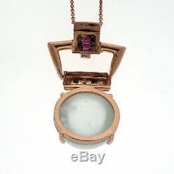 Antique Retro Art Déco 20.50ct Chats Naturelles Yeux Aqua 14k En Or Rose Pendentif De Rubis