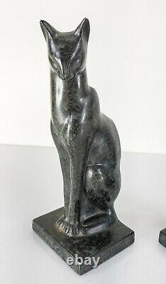 Antique Vintage Art Déco Egytpian Revival Cat Bookends Frankart Style Cast Metal