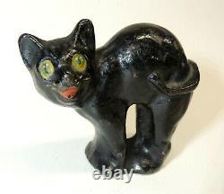 Antique Vtg Hubley Fonte Halloween Cat Petit Doorstop Enfant Paperweight