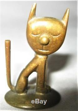 Antique Whw Autriche Art Déco Bronze Statue Sculpture Assis Chat Jouet Paperweight
