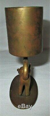 Antique Whw Hagenauer Bronze Felix Cat Holder Match Autrichien Statue Paperweight