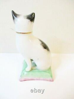 Antique Wk Staffordshire Ware White & Black Cat Sur Oreiller, Angleterre, Porcelaine