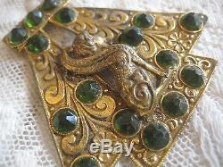 Antiquité Broche Néo-égyptienne Art Deco Jewel Bast Bastille Déesse Cat Fantôme Fantaisiste