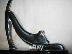 Antiquité Rétro USA Moderne Lourd Chrome Art Déco Chat Statue Sculpture Serre-livres Jouet