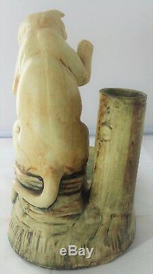 Antiquité Us Weller Woodcraft Muskota Art Déco Chat Bol De Poisson / Porte-plante A927