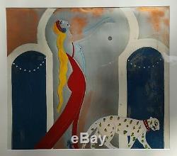 Antiquité Vintage Art Deco Peinture Nude Mode Chat Intérieur Décorer La Ny