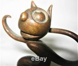 Antiquité Whw Hagenauer Bronze Autrichien Felix Le Chat Statue Sculpture En Papier