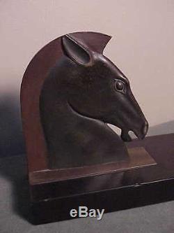 Antiquités Français Art Déco Bronze Book-ends Se Termine Tête De Cheval Romain Sur Marbre E. Guy