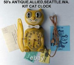 Arrete 50s-allied-yellow-kit Cat Klock-kat Clock-electric-vintage-original-works