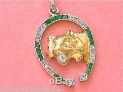 Art Antique Déco Diamant Emeraude Horseshoe Lion Chat Exotique Félin Pendentif 1930