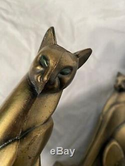 Art Antique Deco Égyptien Revival Cat Bookends Bronze Frankart Rare Yeux Verts