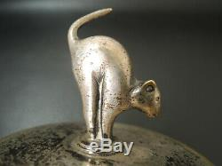 Art Déco Argent Français / Poignée Bronze Halloween Cat Couvercle Sucrier-pot Boîte