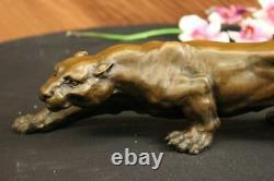 Art Déco Barye Bronze Cheetah Statue Big Cat Leopard Feline Panther Lion Jaguar
