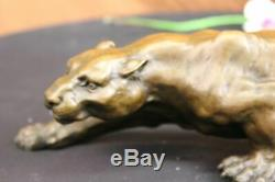 Art Déco Barye Bronze Statue De Guépard Grand Chat Léopard Félin Panthère Lion Cadeau