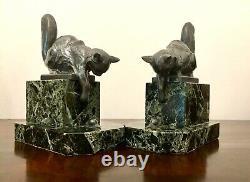 Art Déco Bookends Cat Sculpture Signée Moreau