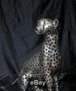 Art Deco Bronze Ceetah Cat Statue Lions Félin Castings