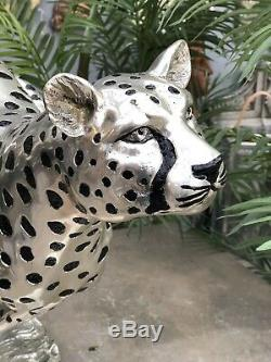Art Deco Bronze Cheetah Cat Grand Main D'argent Statue Fini Par Electrolyse