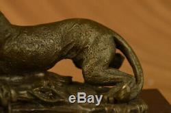 Art Deco Bronze Cheetah Statue Big Cat Leopard Félin Panther Lion Jaguar Figure