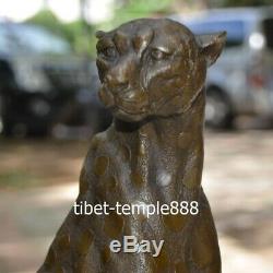 Art Deco Bronze Ouest Pur Pantera Panther Lion Guépard Sculpture Animale
