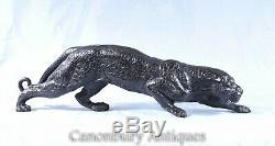 Art Deco Bronze Panther Cat Leopard Statue