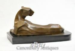 Art Deco Bronze Panther Statue Cat Lion Leopard