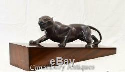 Art Deco Bronze Panther Statue Coulée Cat