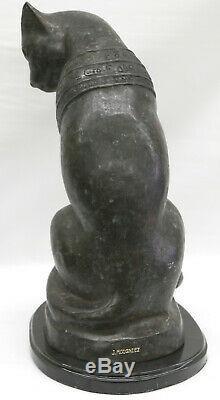 Art Déco Bronze Sculpture En Marbre Égyptien Cat Base Statue Grand